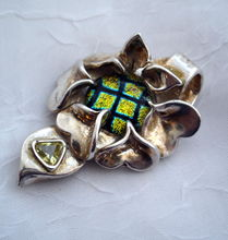 Focal Centerpiece Pendant - Dichroic Glass   Fine Silver Flower