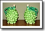 Pair of Bisque Pottery Green Grapes Decanters