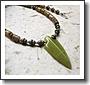 Men's jasper and serpentine arrowhead necklace