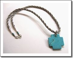 Men's woven kumihimo fiber necklace with turquoise