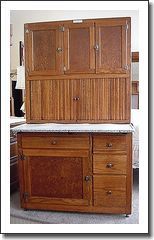 1915 Oak Hoosier Beauty Kitchen Cabinet with Porcelain Top