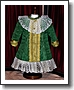 Elegant Antique Doll Dress-Green Silk Moire