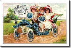 Vintage Post Card Birthday Greetings Children in Automobile with Forget-me-not Flowers