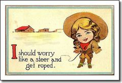 Vintage Post Card Western Cowgirl with Pistol, Hat and Whip