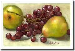 Original Contemporary Still Life Oil Painting Of Pears and Grapes by Artist and Shop Owner, Judy Jones
