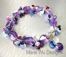 Pink Amethyst-Kyanite-Pink   Blue Sapphire-Tanzanite-Rainbow Moonstone-Rhodolite-Blue Chalcedony-Garnet-Adjustable Sterling Silver Bracelet