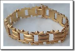 18kt European Textured Ladies Link Bracelet