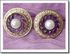 14kt Carved Amethyst Flower, Culture Pearl, Diamond Earrings