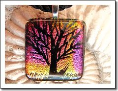 Spectacular Gold and Pink Hand Etched Tree of Life Fused Dichroic Glass Pendant Necklace