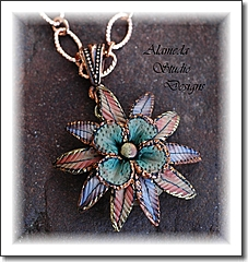 ALAMEDA STUDIO DESIGNS - Improbable Art - Polymer Clay and Brass Necklace