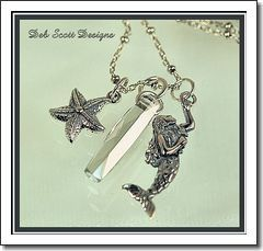 Mermaid, Starfish   Swarovski Crystal Silver Charm Necklace