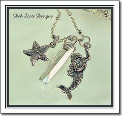 Mermaid, Starfish   Swarovski Crystal Silver Charm Necklace