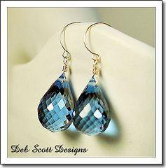 40 9 ct Stunning AAA Flawless London Blue Topaz Gem 14kt Gold Earrings
