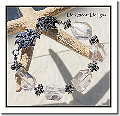 Rock Crystal Nuggets   Gorgeous Artisan Sterling Silver Clasp Bracelet