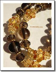Smokey Quartz, Citrine, Hessonite Garnet   22k Gold Vermeil