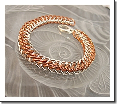 Men's Chainmail Bracelet - Half Persian Weave - Sterling Silver   Copper