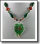 Green Leaf Necklace with Copper Accents