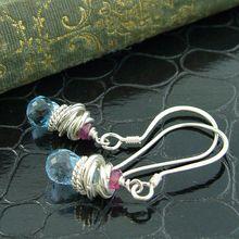 Swiss Blue Topaz   Pink Sapphire Boucles d'Oreille