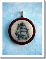 Tall Ship Scrimshaw style pendant