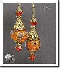 Destiny Earrings - Gold Vermeil with Orange and Yellow Lampwork Beads