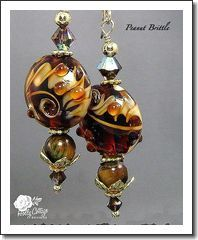 Peanut Brittle - Artisan Crafted Lampwork Beads with Tiger Eye and Gold Vermeil