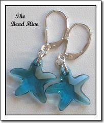 Swarovski Indicolite Crystal Starfish Earrings - Seaside Jewels