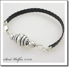 Silver-Leather Unique Men's Bracelet by Israeli Jewelry Designer, Sarit Wolfus