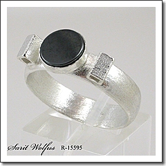 Sterling silver, Hematite Handcrafted Men's Ring | Men's Jewelry | Sarit Wolfus Jewelry Design