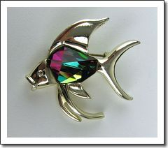Rhinestone Belly Angel Fish Brooch Sarah Coventry Book Piece!