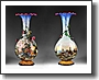 Pr  of 19th C  Majolica Trumpet Urns Painted by Ficaflli Mollica