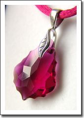 Young women ruby color Swarovski pendant