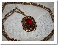 1954 Sarah Coventry Ruby Red Rope Pendant Necklace