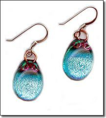 Hand Crafted Artisan Fused Art Glass Earrings - Sparkling Dichroic Glass, Hand Wrought Copper -  925 Sterling Silver