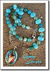 Sea Luster Necklace with Porcelain, Peru Amazonite and Sterling