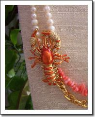 ~ Artisan Necklace ~ Re-purposed Vintage Pin, Coral, Cultured Freshwater Pearl
