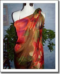 Coastal Sunset ~ Silk Maxi Dress or Beach Cover Up, Scarf