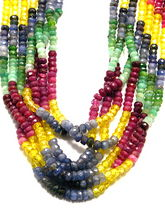 Natural Sapphire, Ruby, Emerald and Citrine Beads Necklace