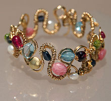 Bold   Beautiful 14K Gold Filled Wire Wrapped and Gemstone Bracelet
