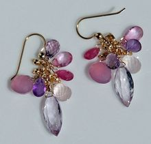 Pretty Pink Amethyst, Showy Pink Sapphire and Exceptional Chalcedony Earrings
