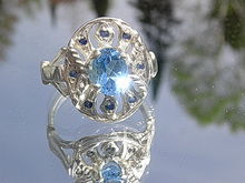 Silver Blue Topaz Sapphires Artisan Ladies Ring