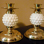 Vintage Hobnail Milk Glass and Brass Candlestick Holders - One Pair