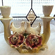 SALE Vintage 50's Capo-di-Monte Porcelain - Love Bird Double Candle Holder with  Roses ...