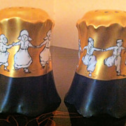 SOLD Antique Original Rosenthal Versailles Salt & Pepper Shakers Signed by Artist - 22K Dancin