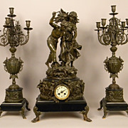 Antique French Three Piece Mantel Candelabra and Clock Set