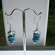 Lampwork Glass Rondelle and Silver Earrings