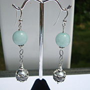 Amazonite and Bali Silver Dangle Earrings