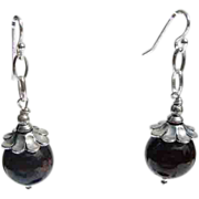 Round Garnet and Silver Dangle Earrings