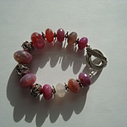 Fuschia Purple Fire Agate and Silver Bracelet