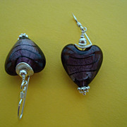 SOLD Purple Silver Foiled Heart Shaped Glass Earrings