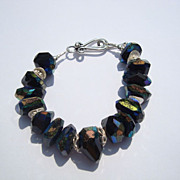 Black Spinel and Silver Bracelet